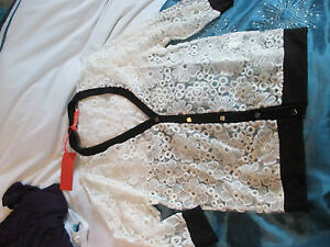 womens/girls floral lace effect cream cardigan - size 10/12 - New