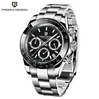 Luxury Men Watch PAGANI DESIGN Business Pilot Quartz Watches Steel Band Bracelet