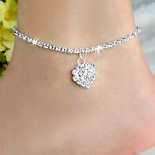 Diamante Simple Love 925 Sterling Silver Anklet Foot Chain Ankle Bracelet Charm,