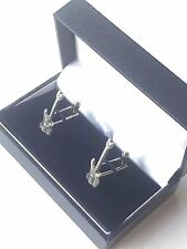 Electric Guitar Music Instrument Hand Made Pewter Cufflinks (N324)