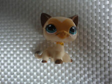 Littlest Pet Shop LPS # 3573 Siamese Kitty Cat Tan Brown HEART FACE CHAT Chaton