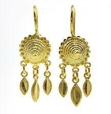 GORGEOUS THAI CLASSIC DESIGN DANGLE EARRINGS 22K 18K Yellow Gold GP Jewelry GT14