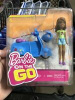 Barbie On The Go Motorized Blue Scooter African America Doll With Helmet New