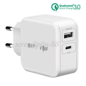 US BlitzWolf 30W Type-C PD QC3.0 + 2.4A USB C Fast Wall Charger EU Plug Travel