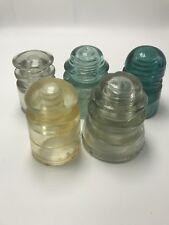 Vintage Glass Insulators Lot  5 Green Clear Yellow Insulators Hemingway Whithall