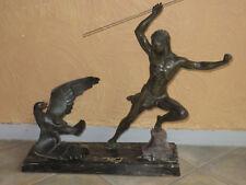 """"""" La Chasse à l'Aigle"""", Sculpture Art Déco Signée Jean De Roncourt."""