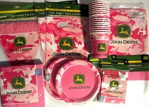 JOHN DEERE PINK - Birthday Party Supplies Set Pack for 16 DELUXE KIT w/ Banner