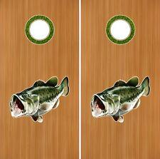 "Bass Fish 18"" Cornhole Baggo Decal Sticker W Hole Rings"