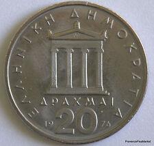 Monnaie Grèce grec greece  20 drachmes 1976  cupro-nickel circule  aca22