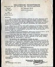 "AMSTERDAM (PAYS-BAS) BANQUE ""HOLLANDSCHE ESCOMPTOBANK"" Période 1930"