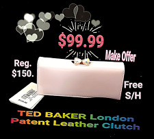NEW W/ TAGS Ted Baker London Women Caleena Pink Patent Leather Clutch REG. $150.