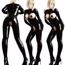 Plus Size S-5XL Leather Gothic Catsuit Bodysuit Jumpsuit PVC Clubwear Costume