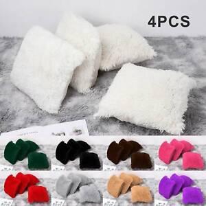 """4 X Faux Fur Cushion Cover Soft  Plush Furry Fur Pillow Cushion Covers 17"""" x 17"""""""