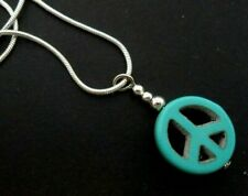 """A Pretty Turquoise Peace Sign Pendant Necklace. 18"""" Chain. New."""