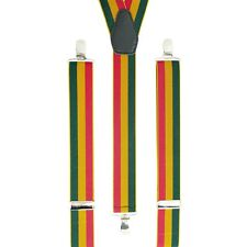 Red Gold Green Yellow Clip On Trouser Braces Elastic Suspenders Handmade UK