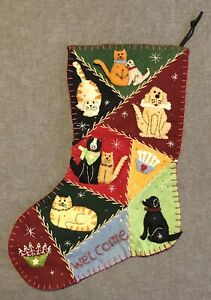 Vintage Handmade Felt Appliqué Embroidered Christmas Stocking - 3D - Dogs Cats