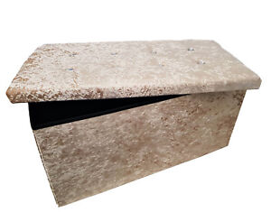Double Crushed Velvet Diamonte Ottoman Folding Storage Box Footstool Seat Beige