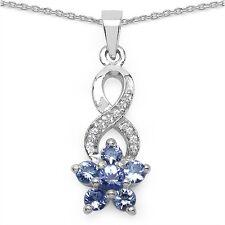 Collier/Halskette mit Tansanit/Weißtopas-Blume-Anhänger-0,79 Karat