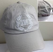 Victoria's Secret Baseball Cap Hat Campus Embroidered PINK Cotton Beige O/S NWT