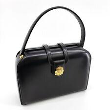 CELINE Vintage Black Gold Macadam Medallion Leather Top Handle Doctor Bag 13754