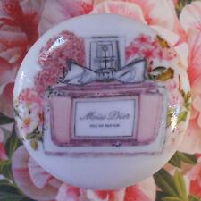 Miss Dior Perfume FRENCH ceramic knob pull dresser Bedroom Bath vanity chic room