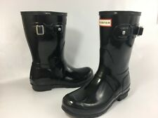 Hunter ORIGINAL SHORT GLOSS Womens Black Rubber Waterproof Rain Boots Sz 6