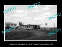 OLD LARGE HISTORIC PHOTO OF KINGSTHORPE QLD, PHILLIPS 66 SERVICE STATION c1960