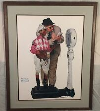 """Vintage Framed Norman Rockwell """"Weighing In"""" Hand SIGNED Print Black Ink Auto"""