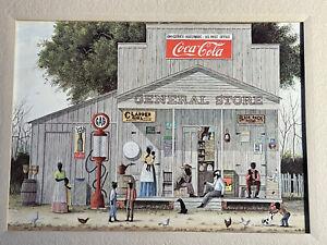 Jack Meyers Coca Cola General Store Black Americana Folk Art Print w/mat