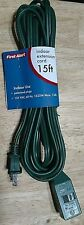 NWT FIRST ALERT SET OF 2 QUALITY 15 FT EXTENSION CORD CLOSING POLARIZED PLUGS