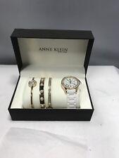 New Anne Klein Women's 12/2256GBST Ceramic Gold Tone Watch Bracelet Set