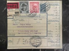 1937 Liberec Czechoslovakia Parcel Receipt Express Cover to Germany Uprated