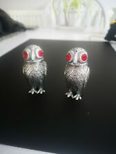 More details for victorian style solid silver owl salt pepper shakers ruby glass eyes