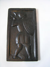 wooden stylized MEDIEVAL KNIGHT bearing shield & axe wall plaque