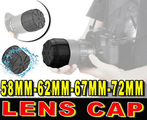 LENS CAP COVER RUBBER FRONTAL 58MM 62MM 67MM 72MM ADATTO A CANON FUJIFILM LEICA