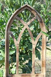 "Arched Renaissance Wood Window Frame Display, Distressed Look, Brown - 29 3/4"""
