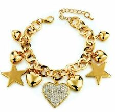 Heart Star Charm Bracelets Gold Plated Austrian Crystal
