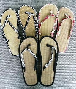 3 Pairs Ladies Straw Flip Flops Medium Size Special Offer Pack