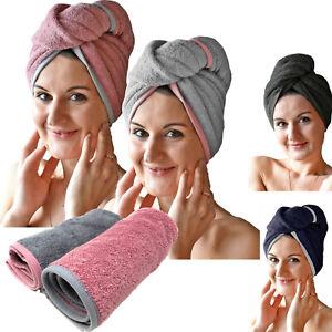 Frottee Haarturban Kopfhandtuch Turban 100% Baumwolle für Erwachsene oder Kinder