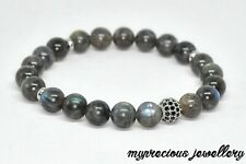 Natural Labradorite Gemstone Bracelet Grey Elasticated Reiki Chakra UK Unisex