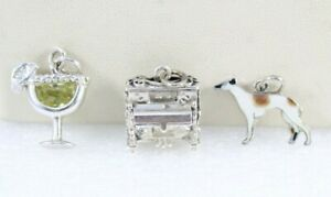 BEAU STER Player Piano(Moveable Part), 925 Margarita Drink&925 Enamel Dog Charms