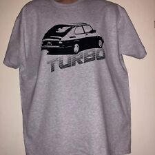 GREY Saab 900 TURBO inspired Car T-Shirt Tee Top Swede Size XL Fruit of the Loom