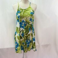 Tiki Palm Women's Top Dress Size M Hawaiian Floral Blue Green Gored Halter Top