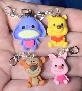 4 Pc Winnie The Pooh Tigger Piglet & Eeyore Charm Zipper Pulls &Keychain Add Ons