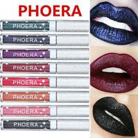 PHOERA Waterproof Metallic Lipstick Liquid Glitter Shiny Lip Long Lasting Gloss