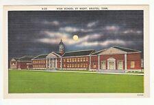 Postcard: High School, Bristol, Tenn - Night View