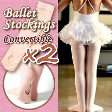 2X Convertible Girls ballet stockings/dance tights/pantyhose,pink,size M/10-13