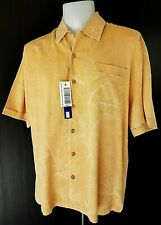 "JAMAICA JAXX Mens Orange 100% SILK S/S HAWAIIAN SHIRT - L - Chest 48"" - *DEFECT*"