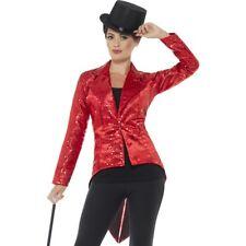 Smiffy's 46958m Red Ladies Sequin Tailcoat Jacket - Fancy Dress Cabaret Costume