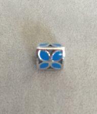 Authentic PANDORA 790437EN01 Blue Enamel Flower Silver Charm / Bead